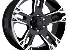 J18X9 6X5.5 (139.7)/12 C106.10 MODEL 235 MAVERICK GLOSS BLACK W/DIAMONDS CUT